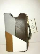 Fossil  Sofia Phone Brown Leather Phone SLV  Wallet NWT