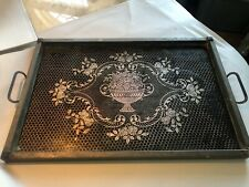 Vintage Antique Gold Under Glass Silver Metal Serving Tray : Glass Is Cracked