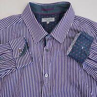Ted Baker London Dress Shirt Men's Size 7 Cotton Striped Purple White