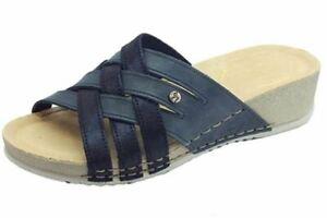 FLY FLOT sandalo Ciabatta da donna vera pelle zeppa comoda BLU