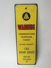 Vintage Bell System Telephone Cable Warning Metal Yellow Sign - Man Cave Sign