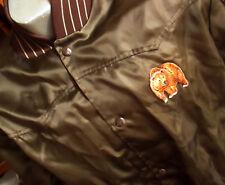 LARGE True Vtg 80's BROWN SATIN WINDBREAKER RACER BEAR PATCH Jacket USA