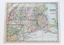 1896 Massachusetts Map Boston Lynn Cape Cod Nantucket Martha's Vineyard ORIGINAL