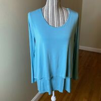 Soft Surroundings Large Soft Knit Jersey Layered Tunic Top in Teal Blue Sz Large
