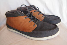 REEF felt wool leather shoes high top mens sz 12 charcoal brown spiniker