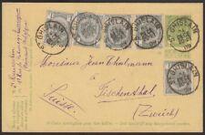 BELGIUM, 1909. Post Card H&G 50, 82 (5), St. Ghislain - Zurich