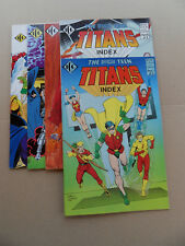The Official Teen Titans Index 1 - 5 . Lot Complet . ICG . 1985 / 86 . VF+