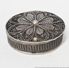 Antique 800 Fine Silver Filigree Trinket Stash Snuff Pill Vinaigrette Box 9.5g