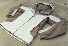 The North Face HyVent waterproof Hooded Ski Snow Jacket women's XL Khaki & White