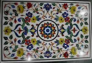 24 x 36 Inches Marble Coffee Table Top Inlay Center table with Multi Gemstones