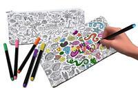 VHALE 2 Pack Color Your Own Pencil Case Pen Case Stationery Pouch Zipper Bags