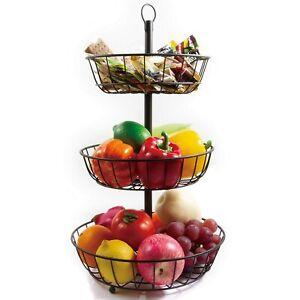 3-Tier Countertop Fruit Vegetables Basket Bowl Storage - Metal Black
