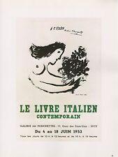 "1989 VINTAGE ""CHAGALL LIVRE ITALIEN CONTEMPORAIN"" MINI POSTER COLOR Lithograph"