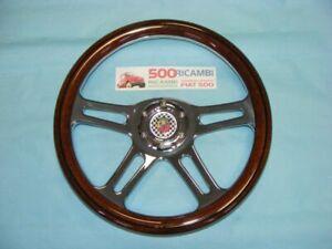 FIAT 500 F/L/R 126 VOLANTE SPORTIVO LEGNO A 4 RAZZE CROMATE 35cm +CLACSON ABARTH