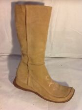 Dolcis Beige Mid Calf Suede Boots Size 39