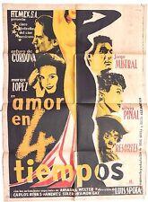 Vtg Mexican Movie Poster 1955 Amor En Cuatro Tiempos (Arturo De Cordova)