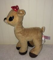 """Clarice Rudolph Red Nosed Reindeer 9"""" Girl Plush Toy Polka Dot Bow Stuffed"""