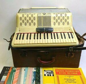 Vintage Paolo Soprani Piano Accordion Made in Italy w/Case &Books Rare Fast Ship