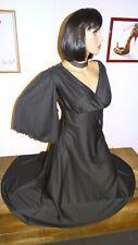 robe T36/38 longue et ample noir manches ouvertes dress kleid m 464