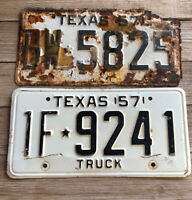 1957 Vintage Antique assorted single plates.  Passenger and Truck. Patina.