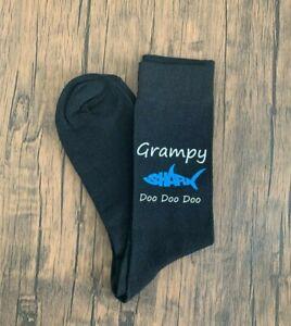 Grampy Shark Mens Black Socks Vinyl Printed Fathers Day Gift Birthday