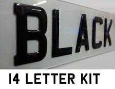 14x 3D BLACK Gel Domed Digits DIY Registration Reg Number Plate PACK SET KIT 14