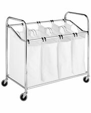 Whitmor Chrome & Canvas 4-Section Laundry Sorter, FREE SHIPPING