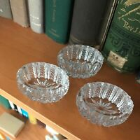 "Set of 3 - 2"" Vintage Open Salt Pressed Clear Glass Oval Starburst Bowls"
