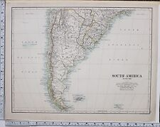1889 LARGE ANTIQUE MAP ~ SOUTH AMERICA SOUTHERN SHEET LAPLATA URUGUAY CHILE