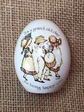 Vintage Holly Hobbie Porcelain Egg Us Flag Americana Wwa Japan 1974