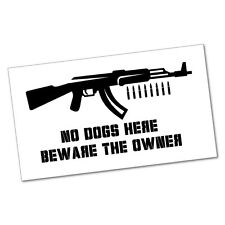 NO DOGS BEWARE THE OWNER Sticker Decal Funny Car Prank Laptop #5144N