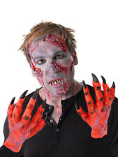 MENS ZOMBIE COSTUME LATEX GLOVES HANDS RED DEVIL HANDS HALLOWEEN FANCY DRESS NEW
