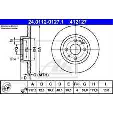 ATE 2x Bremsscheiben Voll beschichtet 24.0112-0127.1