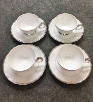 4 Harmony House Silver Sonata Tea Coffee Cups & Saucers 3638 Fine China JapanTPE