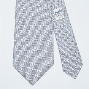 HERMES TIE 5291 TA Blue H on White Classic Silk Necktie