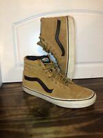 Vans High top brown camel suede black mens sz 9.5 womens 11 skate shoes