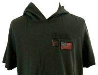 American Rag Mens XL Hoodie Shirt Pullover Gray American Flag Short Sleeve
