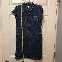 "Tommy Hilfiger girls size 12 denim jean dress 29"" Long Zip down front Blue"