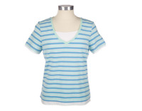 QVC Denim & Co. Stretch Striped V-neck Top with Solid Inset Size 1X NEW NWT