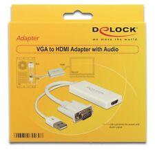 DeLOCK VGA to HDMI Adapter with Audio - White - 62460