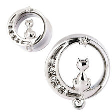 PAIR Sliver Cat Ear Plug Gauges Stainless Steel Single Flared Ear Tunnel Earlet