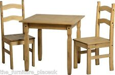 RIO Dining Set Distressed Waxed Pine 2 Seater Square with Two Chairs