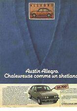 PUBLICITE ADVERTISING 1981 AUSTIN MORRIS ALLEGRO  automobiles