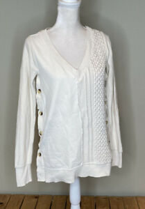 Saturday Sunday Anthropologie womens side button pullover sweater Sz XS Cream N7