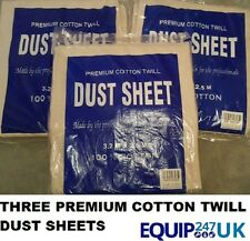 3 (THREE) LARGE PREMIUM HEAVY 100% COTTON TWILL DUST SHEETS PROFESSIONAL QUALITY