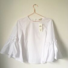 NWT Miss Selfridge Ladies Ivory White Poplin Work Blouse Top UK8 EU38 Flute Slv