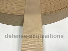 """5 YARDS OF 1"""" Inch MilSpec Webbing Binding Ribbon MIL-T-5038 Grosgrain TAN"""