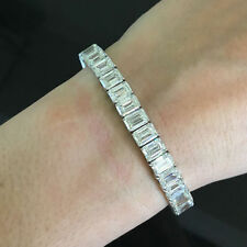 15.0Ct Emerald Brilliant Cut Diamond Tennis Bracelet In 14K White Gold Over
