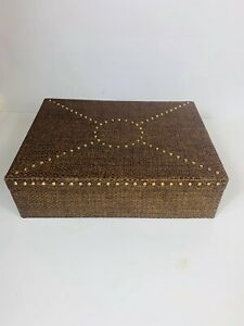 Happy Chic By Jonathan Adler Brown Rattan Storage Box Gold Studded Decorative
