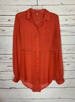 Free People Women's S Small Orange Button Long Sleeve Spring Tunic Top Blouse